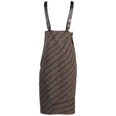Azzedine Alaia knitted wool pencil skirt with black leather harness, a / w 1987