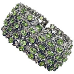 Perfect Peridot and Diamond Sterling Silver One of a Kind Bracelet