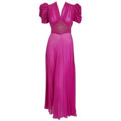 1930's Fuchsia Pink Rhinestone Studded Silk Chiffon Puff-Sleeve Belted Deco Gown
