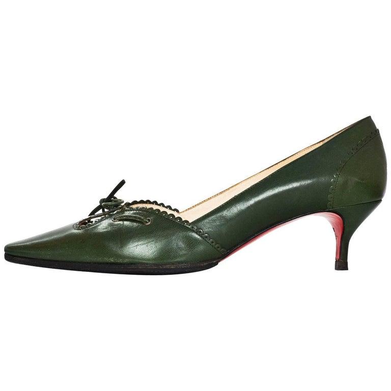 Christian Louboutin Green Leather Kitten Heels Sz 39.5