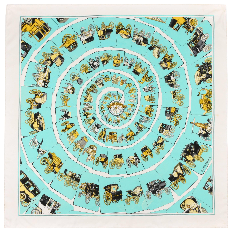 """HERMES c.1976 Philippe Ledoux """"Carrosserie"""" Seafoam Carriage Print Silk Scarf"""