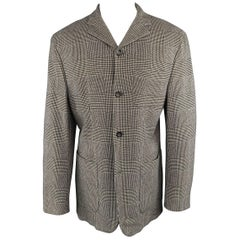 Men's JIL SANDER 40 Beige & Black Glenplaid Cashmere Blend Notch Lapel Coat