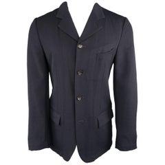 Men's COMME des GARCONS EVERGREEN M Navy Wool Notch Lapel Jacket