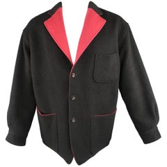 Men's COMME des GARCONS M Textured Black Wool & Red Twill Reversible Jacket