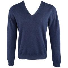 Men's MAISON MARTIN MARGIELA Size M Navy Cashmere V Neck Stitches Pullover