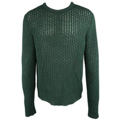 Men's RAF SIMONS Size M Forest Green Knitted Merino Wool Mesh Crewneck Sweater