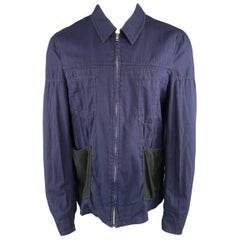 Comme des Garçons Men's Black Navy Canvas Black Fleece Pocket Cotton Jacket