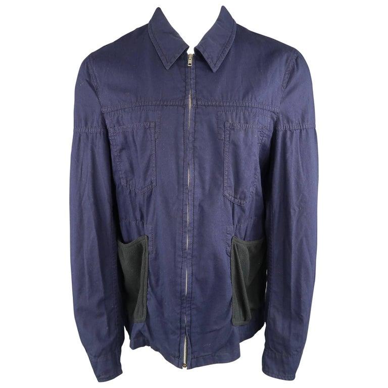Men's COMME des GARCONS BLACK L Navy Canvas Black Fleece Pocket Cotton Jacket