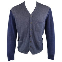 Men's 45rpm 42 Navy Color Block Cotton Knit Cardigan Jacket