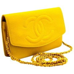 CHANEL Caviar Wallet On Chain WOC Yellow Shoulder Bag Crossbody
