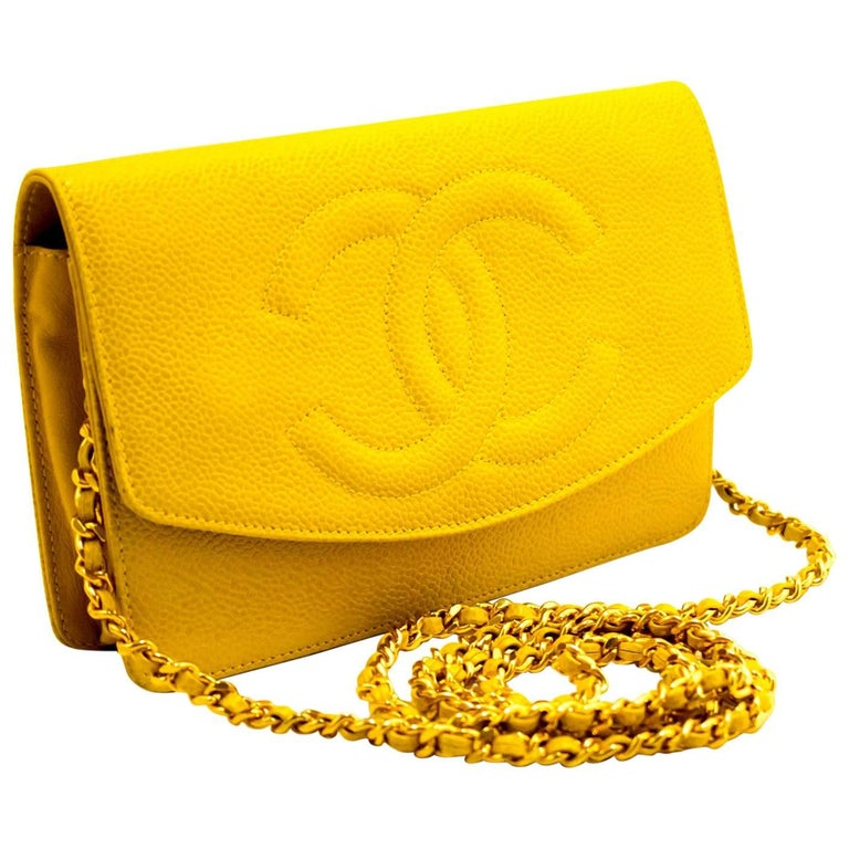 19466d1ab4e7 CHANEL Caviar Wallet On Chain WOC Yellow Shoulder Bag Crossbody For Sale
