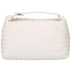Bottega Veneta White Leather Intrecciato Handbag