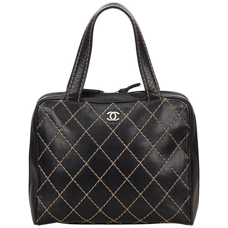 Chanel Black Lambskin Leather Surpique Handbag