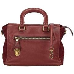 Prada Bordeau Leather Saffiano Satchel