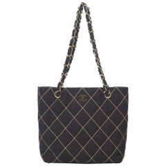 Chanel Charcoal Surpique Wool Shoulder Bag