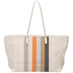Fendi White Woven Leather Striped Shoulder Bag