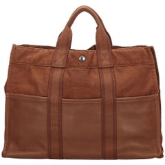 Hermes Brown Leather Base Fourre Tout MM