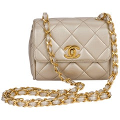 Vintage Chanel Platinum Metallic Quilted Lambskin Crossbody Evening Bag