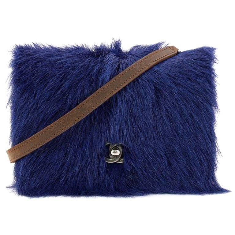 Chanel Paris-Edinburgh Wallet on Chain Goat Hair with Quilted Distressed Leather