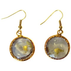 MARGUERITE DE VALOIS Hammered Stud Earrings in Pale Gold Plate and Molten Glass