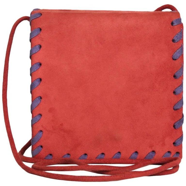 YSL YVES SAINT LAURENT Vintage Bag in Red and Purple Suede