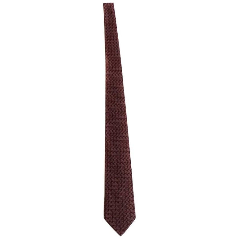 a85008b3b9d1 HERMES Vintage Tie in Burgundy Silk with Lizard Pattern For Sale at ...
