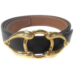 HERMES Reversible Belt in Gold and Black Leather Size 80