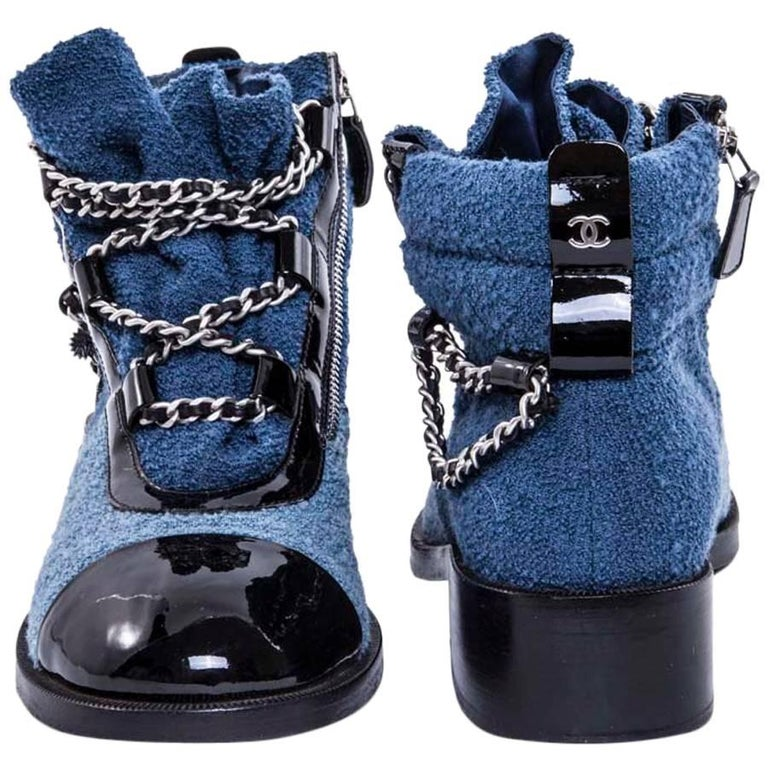 CHANEL Limited Series Boots in Blue Sponge Style Fabric Size 37.5