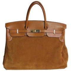HERMES Birkin 40 Grizzly Bag in Doblis Calf and Fawn Barénia Leather