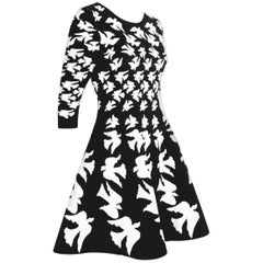 Alexander McQueen Black and White Silk and Poly Knit Swallow Dress