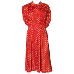 Georges Rechs Spotty Pleated Dress 1970s