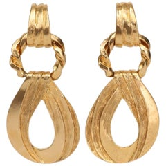 Yves Saint Laurent Gold Plated Clip On Earrings, 1980s