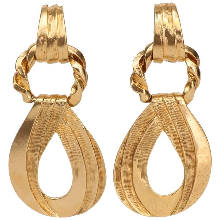 Yves Saint Laurent Gold Plated Clip On Earrings, 1980s  For Sale