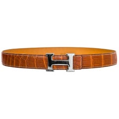 Hermes Tan Porosus Crocodile & Palladium H Belt Kit sz 90/36 w. BOX