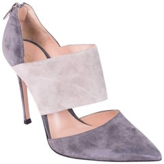 Gianvito Rossi Two Tone Gray Suede Pointed Toe Pumps