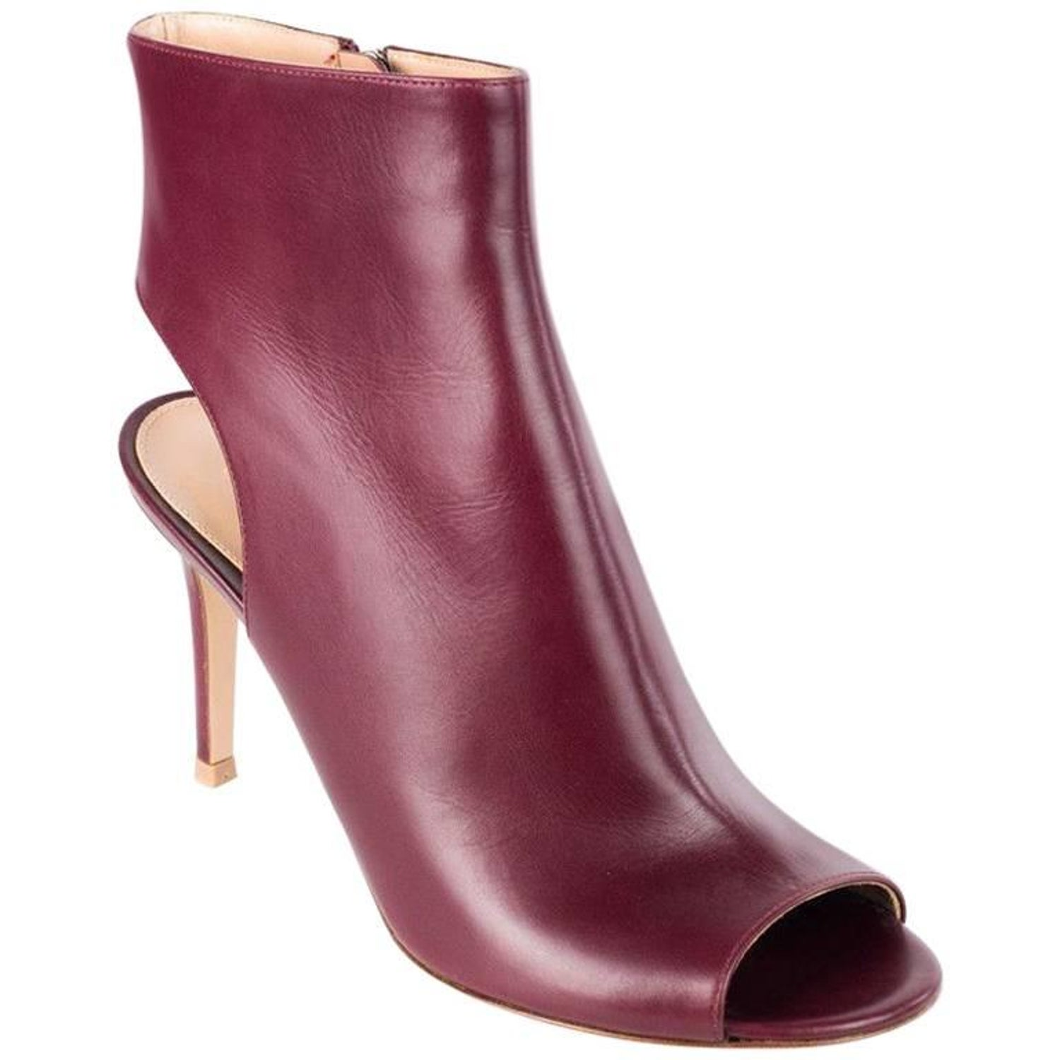 e4836a022de Gianvito Rossi Women s Burgundy Peep Toe Ankle Boots For Sale at 1stdibs