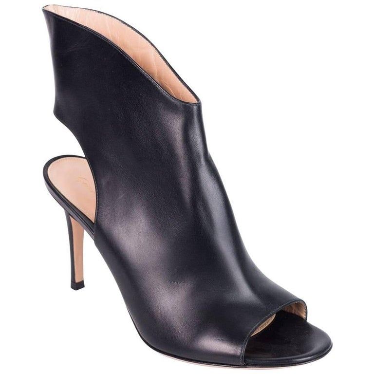 8a786713623 Gianvito Rossi Black Leather Open Heel High Vamp Ankle Booties For Sale