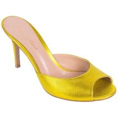 Gianvito Rossi Metallic Citrus Leather Mule Sandal Heel