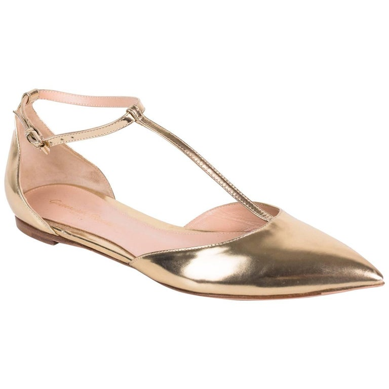 8ca654ef31e Gianvito Rossi Gold Patent Leather T-Strap Pointed Toe Flats For Sale