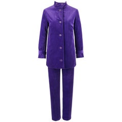 DESIGNED BY JAX c.1960's 2 Piece Purple Corduroy Jacket Tapered Pants Suit Set