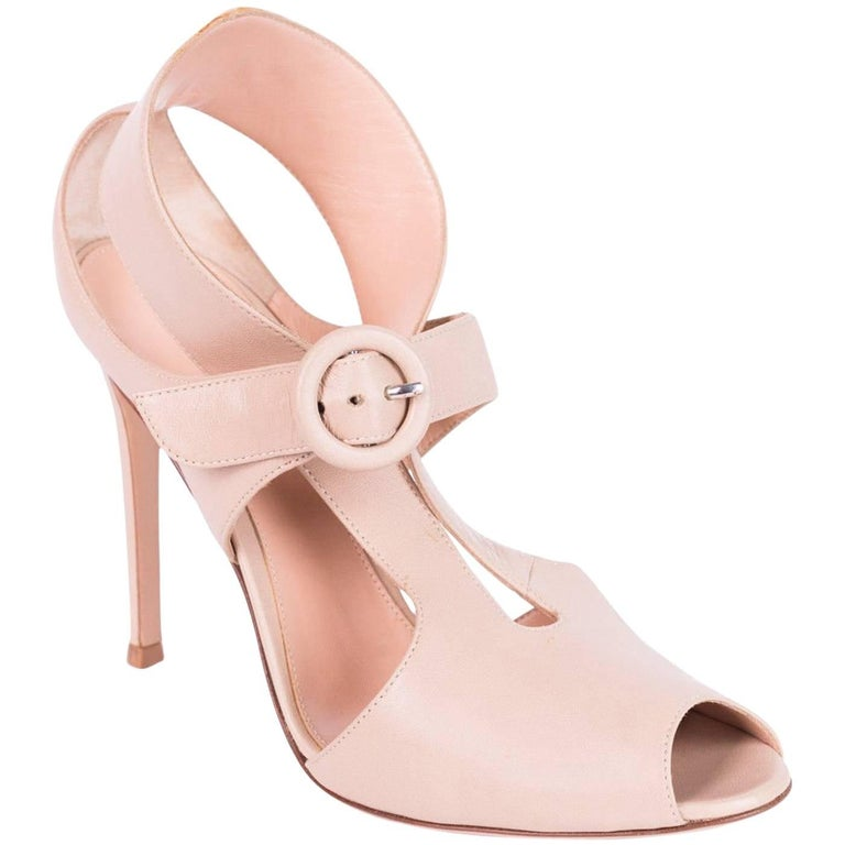d9f7ea0e6ec Gianvito Rossi Nude Cut Out Buckled Strap Peep Toe Heel For Sale at ...