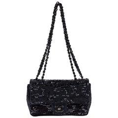 Chanel Black Leather Sequins Handbag