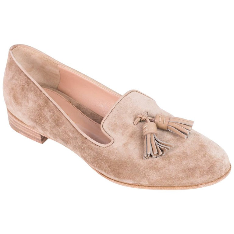 Gianvito Rossi Beige Worn Suede Tasseled Round Toe Loafers