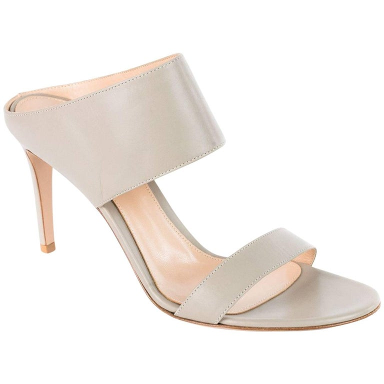 Gianvito Rossi Women's Solid Gray Leather Mules