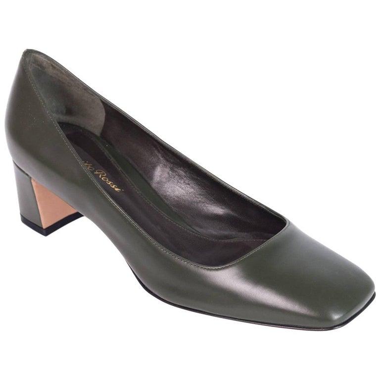 e486c6454ce Gianvito Rossi Green Leather Square Toe Block Heel Pump For Sale at ...