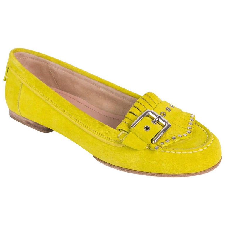 Gianvito Rossi Chartreuse Green Suede Studded Buckle Moccasin