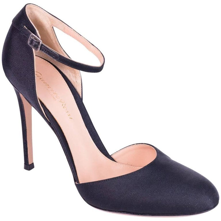 0ab7ad5cadb Gianvito Rossi Black Satin Canvas Round Toe Mary Jane Heel For Sale ...