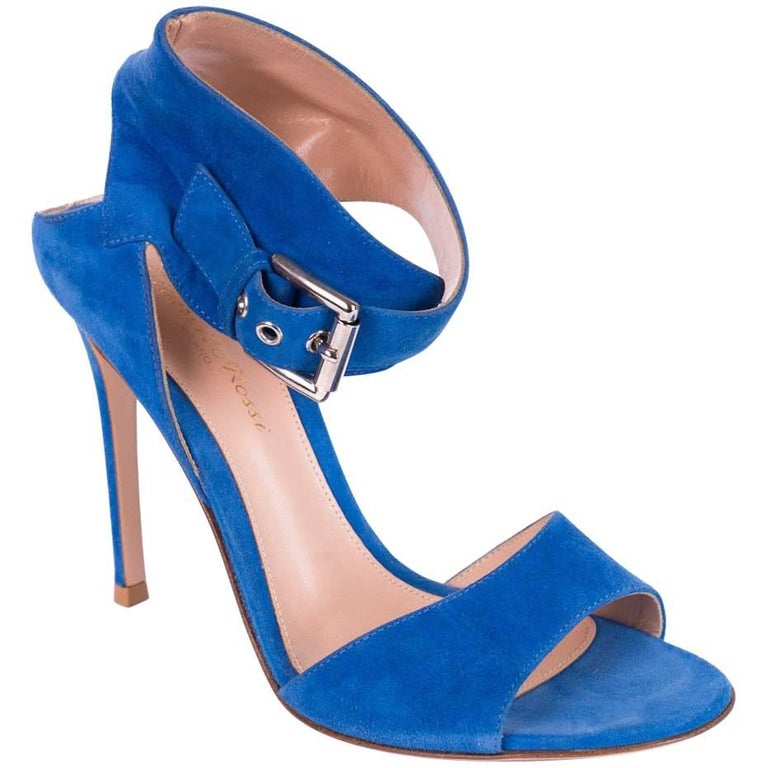 Gianvito Rossi Blue Suede Ankle Buckle Gladiator Heel Sandals