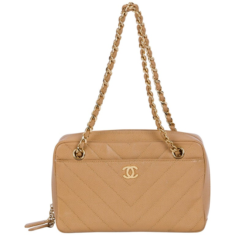 Chanel Beige Caviar Gold Chevron Handbag