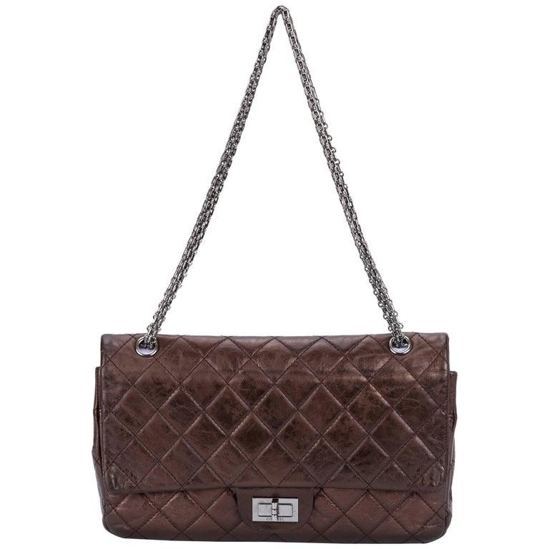 Chanel Metallic Bronze Jumbo Reissue Bag For Sale